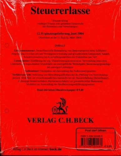 9783406524462: 12. Ergänzungslieferung: Rechtsstand: 15. Juni 2004