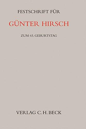 9783406567599: Festschrift f�r G�nter Hirsch zum 65. Geburtstag: zum 65. Geburtstag