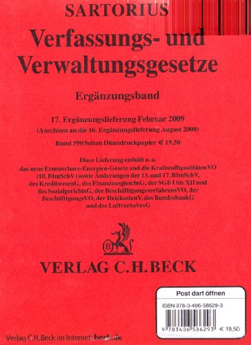 9783406586293: Verfassungs- und Verwaltungsgesetze. Ergänzungsband 17. Ergänzungslieferung: Rechtsstand: 15. Februar 2009