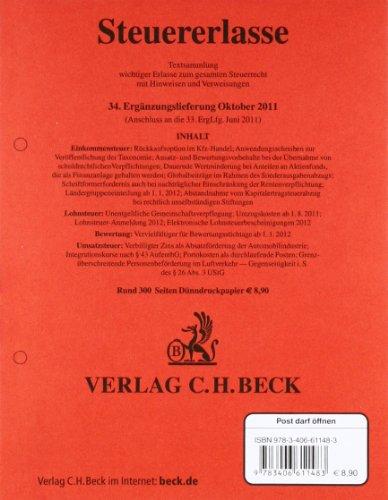 9783406611483: Steuererlasse 34. Ergänzungslieferung: Rechtsstand: Oktober 2011