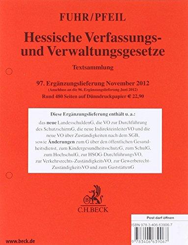 9783406639067: Hessische Verfassungs- und Verwaltungsgesetze. 97. Erg�nzungslieferung: Rechtsstand: 20. November 2012