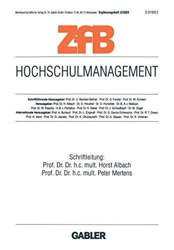 9783409124157: Hochschulmanagement (ZfB Special Issue)