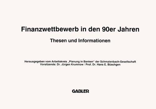 9783409140379: Finanzwettbewerb in den 90er Jahren: Thesen und Informationen (German Edition)