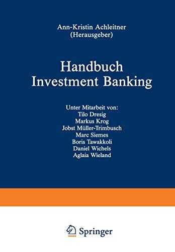 9783409141840: Handbuch Investment Banking