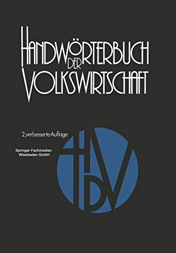 9783409602723: Handwörterbuch der Volkswirtschaft (German Edition)