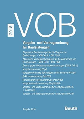 VOB Zusatzband 2016 - Vergabe- und Vertragsordnung: Deutsches Institut für
