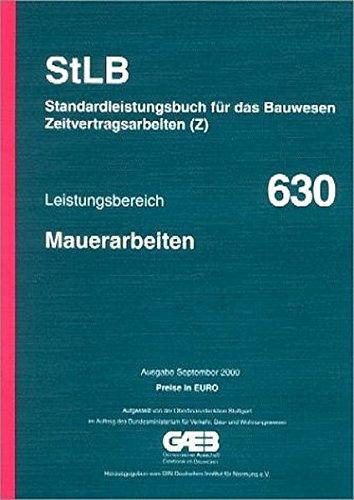 9783410835561: Leistungsbereich 630. Mauerarbeiten. Mit Preisen in Euro.