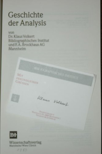 Geschichte der Analysis: Volkert, Klaus Thomas