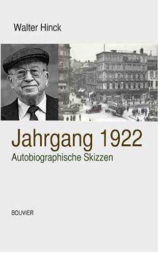 9783416033459: Jahrgang 1922: Autobiographische Skizzen