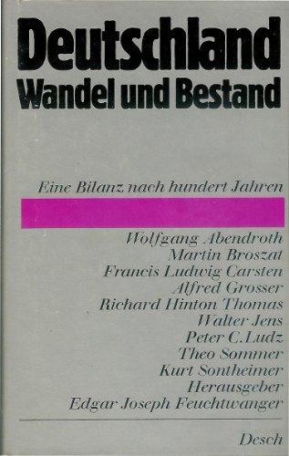 9783420046728: Deutschland Wandel Und Bestand Eine Bilanz Nach Hundert Jahren