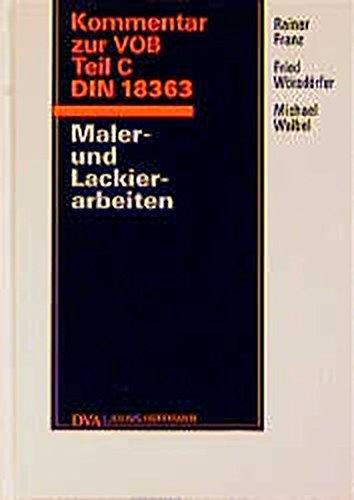 9783421029775: Kommentar zur VOB Teil C DIN 18363. Maler- und Lackierarbeiten.
