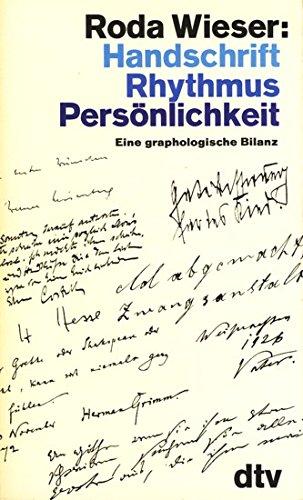 Handschrift, Rhythmus, Perso?nlichkeit: E. grapholog. Bilanz (German: Wieser, Roda