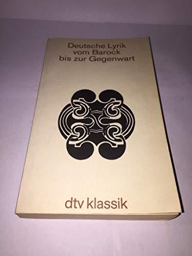 9783423020770: Deutsche Lyrik Vom Barock Bis Zur Gegenw (German Edition)