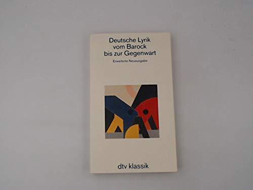 9783423023122: Deutsche Lyrik vom Barock bis zur Gegenwart