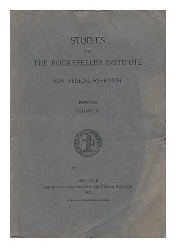 9783423102834: Studies from the Rockefeller Institute for Medical Research - Reprints, Volume 82