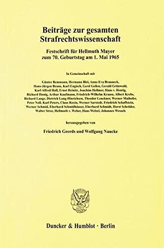 Beiträge zur gesamten Strafrechtswissenschaft: Friedrich Geerds