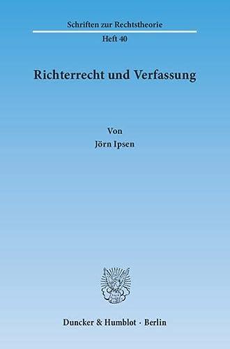 9783428033096: Richterrecht und Verfassung