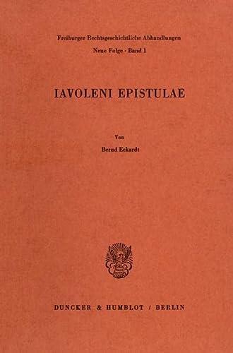9783428041145: Iavoleni Epistulae (Freiburger rechtsgeschichtliche Abhandlungen)