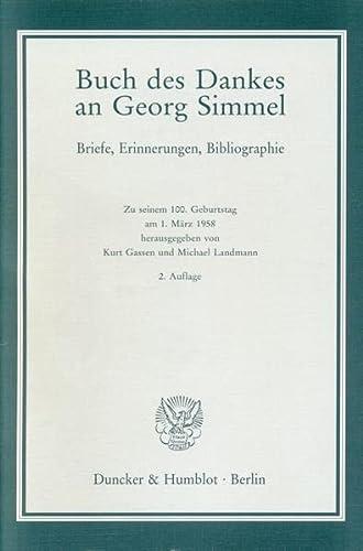 Buch des Dankes an Georg Simmel: Kurt Gassen