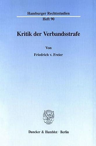 9783428095063: Kritik der Verbandsstrafe
