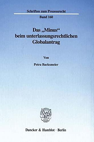 """Das """"Minus"""" beim unterlassungsrechtlichen Globalantrag.: Petra Backsmeier"""