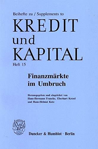 9783428103201: Finanzmärkte im Umbruch.