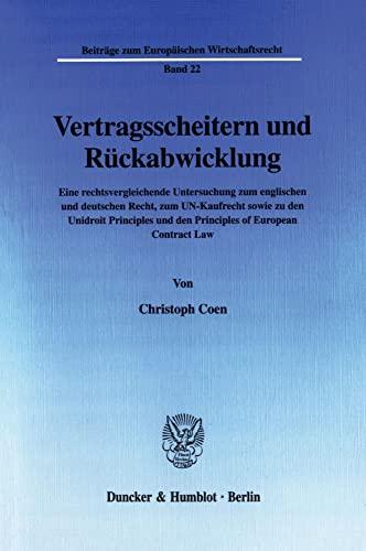 Vertragsscheitern und Rückabwicklung: Christoph Coen