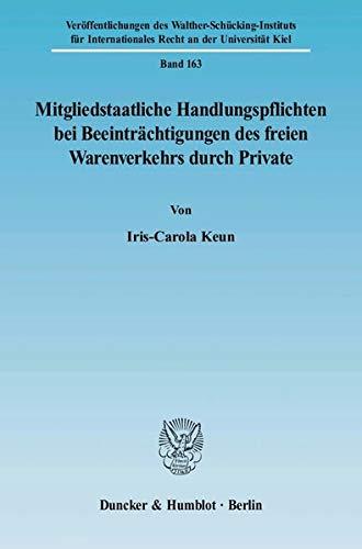 Mitgliedstaatliche Handlungspflichten bei Beeinträchtigungen des freien Warenverkehrs durch ...