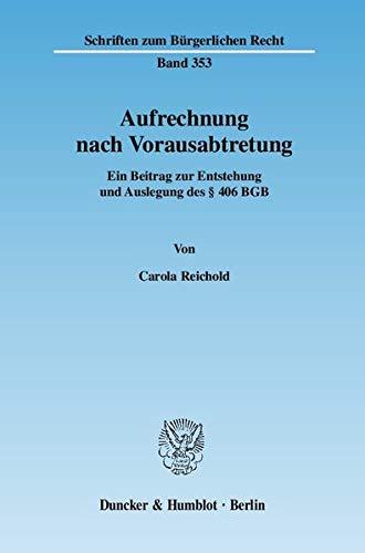 Aufrechnung nach Vorausabtretung: Carola Reichold