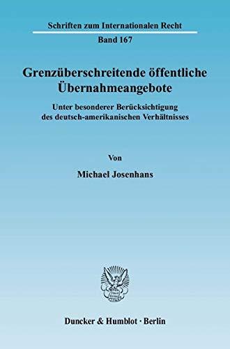Grenzüberschreitende öffentliche Übernahmeangebote: Michael Josenhans