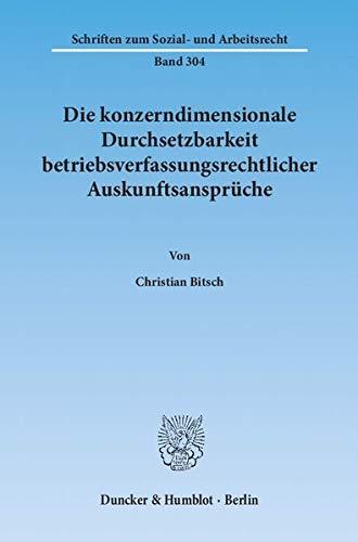 Die konzerndimensionale Durchsetzbarkeit betriebsverfassungsrechtlicher Auskunftsansprüche: ...