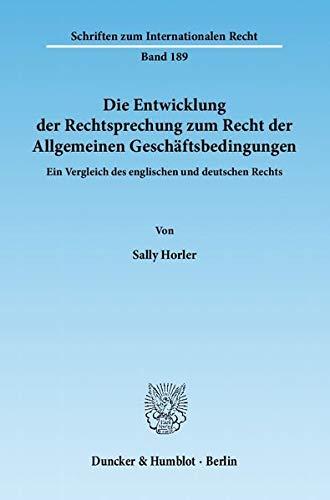 Die Entwicklung der Rechtsprechung zum Recht der Allgemeinen Geschäftsbedingungen: Sally ...