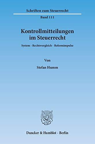 Kontrollmitteilungen im Steuerrecht: Stefan Humm