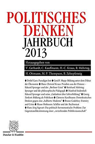 9783428142101: Politisches Denken. Jahrbuch 2013