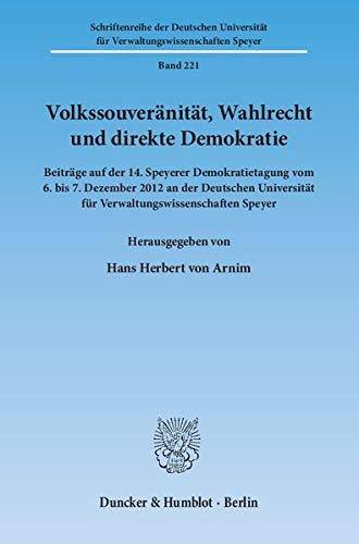 Volkssouveränität, Wahlrecht und direkte Demokratie: Hans Herbert von Arnim