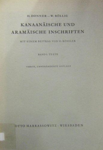 Kanaanaische und aramaische Inschriften (German Edition): Donner, Herbert