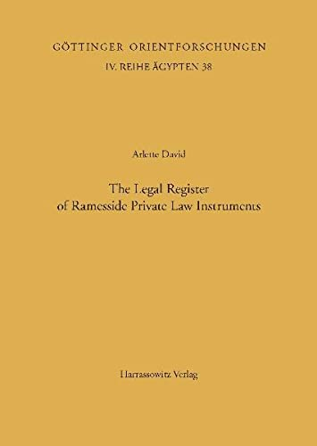 Classification and Categorization in Ancient Egypt / The Legal Register of Ramesside Private Law ...
