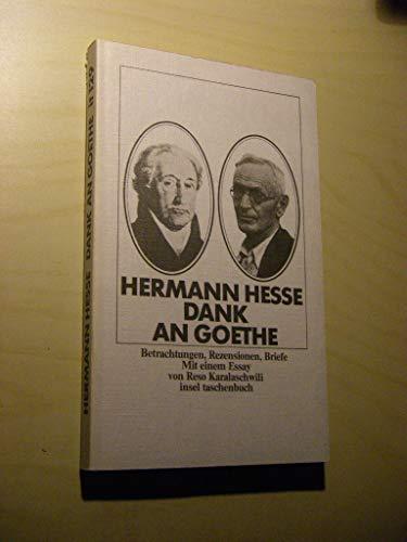 Dank an Goethe: Betrachtungen, Rezensionen, Briefe (Insel: Hesse, Hermann