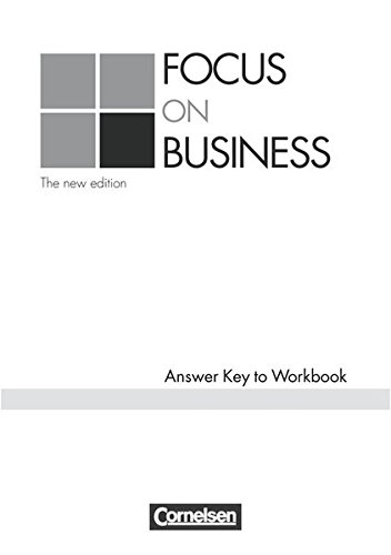 9783464050064: Focus on Business. Key. New Edition: Schlüssel zum Workbook. Englisch für berufliche Schulen