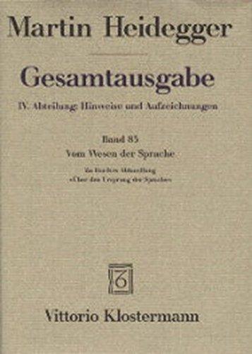 9783465030256: Gesamtausgabe, Kt, Bd.85, Vom Wesen der Sprache