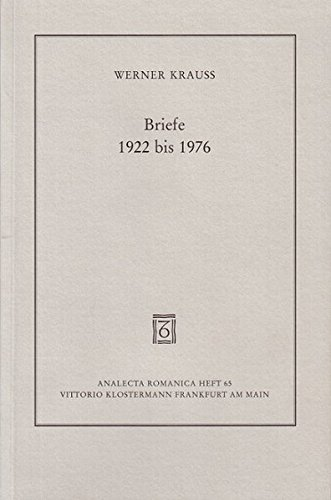 9783465031826: Briefe, 1922 bis 1976 (Analecta Romanica)