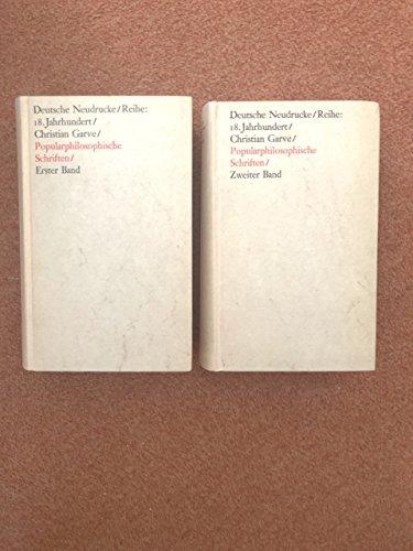 9783476002822: Popularphilosophische Schriften über literarische, ästhetische und gesellschaftliche Gegenstände. 1. und 2. Band. (=Reihe Texte des 18. Jahrhunderts).