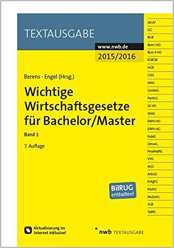 9783482595974: Wichtige Wirtschaftsgesetze für Bachelor/Master 1