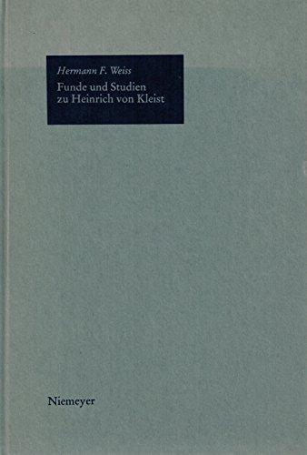9783484104822: Funde und Studien zu Heinrich von Kleist