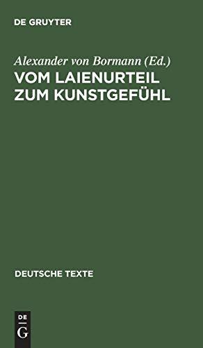 9783484190283: Vom Laienurteil zum Kunstgefühl Texte zur deutschen Geschmacksdebatte im 18 Jahrhundert