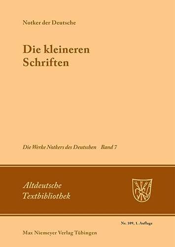 9783484202092: Die Kleineren Schriften (Altdeutsche Textbibliothek) (German Edition)