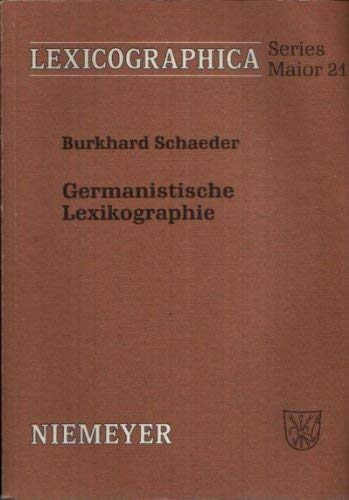 9783484309210: Germanistische Lexikographie (Lexicographica) (German Edition)