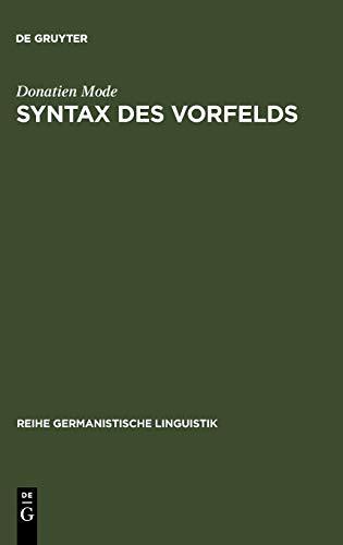 9783484310742: Syntax Des Vorfelds