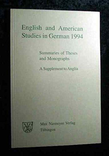 9783484430945: English and American Studies in German: Summaries of Theses and Monographs