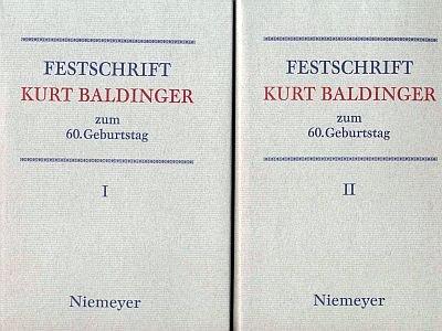 FESTSCHRIFT KURT BALDINGER ZUM 60. GEBURTSTAG. 17. NOVEMBER 1979. 2 vols: H�fler, Manfred, et al, ...